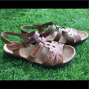 Brown leather Clark's sandals